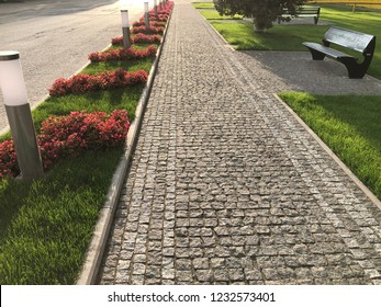 Stone pavement with grass texture. Top view on cobblestoned pavement background. Abstract background of old cobblestone pavement street