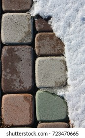 stone pavement and snow. photo for your design