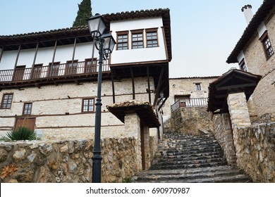 Stone paver stairs in old  traditional neighbourhood of Kastoria , Greece