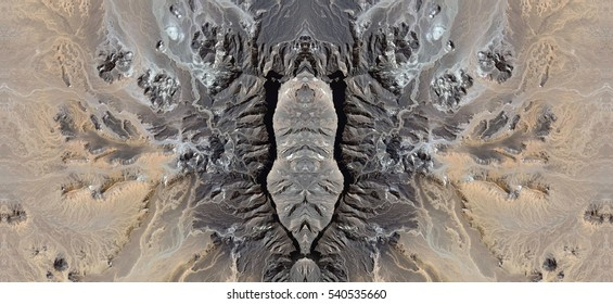stone penis, Tribute to Dalí, abstract symmetrical photograph of the deserts of Africa from the air, aerial view, abstract expressionism,mirror effect, symmetry,kaleidoscopic photo,