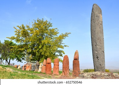 Stone phalluses (menhirs) in the ancient settlement of Metsamor, Armenia