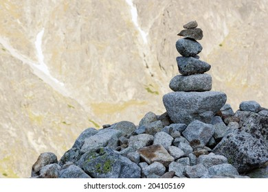 stone pile in mountains