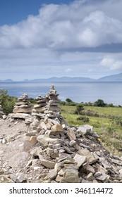 Stone Pile, Ring of Kerry Coast with Dingle Peninsula, County Kerry; Ireland
