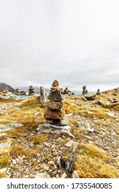 Stone piles on the top of the Timmelsjoch