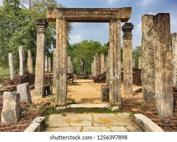 Stone pillars are part of a the ruins of an old building located near the Vatadage in the ancent city of Polonnaruwa in Sri Lanka