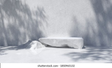 Stone Podium for packaging presentation and cosmetic,  Product display with sunshade on a white concrete wall, stone texture, Natural beauty pedestal in sunlight. realistic rendering. 3d illustration - Shutterstock ID 1850965132