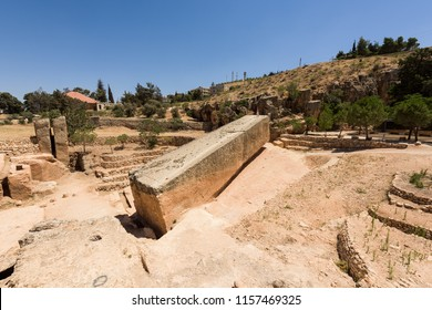 The Stone of the Pregnant is the largest carved stone in the world and lays unfinished in its quarry near the Baalbek roman temple complex, Lebanon.