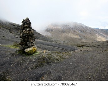 Stone pyramid high up in Colombian Andes