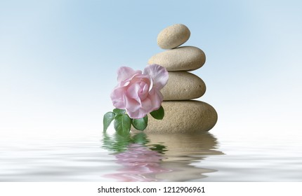 Stone pyramid with rose