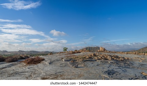 A stone quarry from natural resources on a summer morning in south India