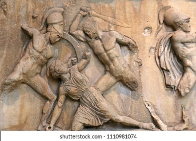 A stone relief depicting the ancient warriors