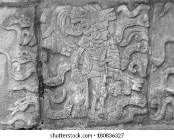 stone relief detail  in Chichen Itza, a archaeological site in Yucatan, Mexico
