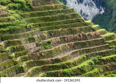 Stone rice terraces steps in the famous Batad village in Philippines, Unesco heritage.