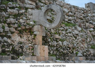 Stone ring at playground for ball game in ancient Mayan site Uxmal, Yucatan Peninsula, Mexico.