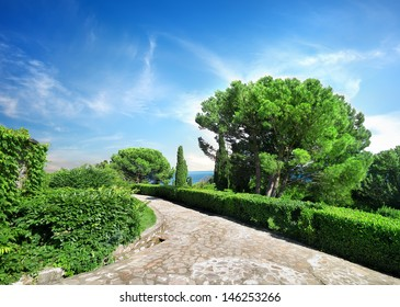 Stone road in Vorontsov garden. Crimea. Ukraine