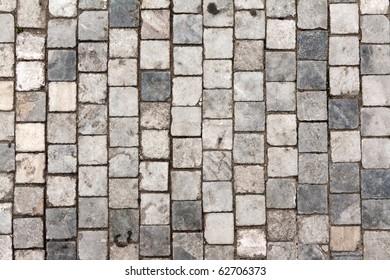 Stone roadway from granite area in Prague