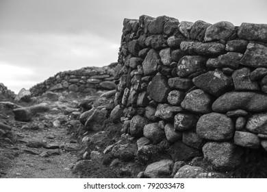 Stone rock walls at Castro de Barona, Galicia, Spain