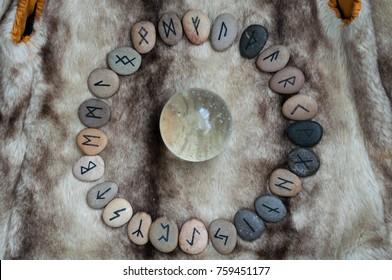 stone runes on the fur
