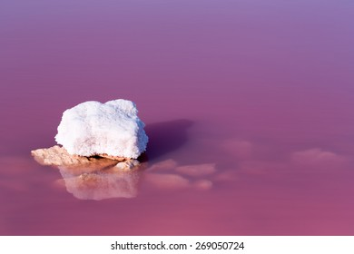 Stone with salt in the salt lagoon of Torrevieja.