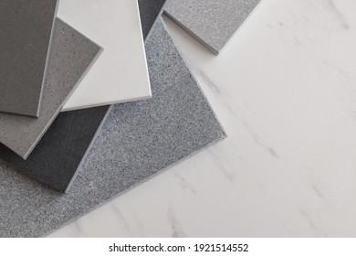 Stone samples on light background