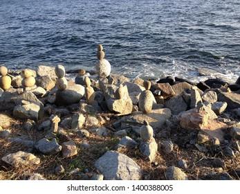 Stone Scrutiny on Rocky Beach