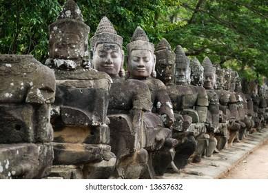 Stone sculpture at Angkor Thom city