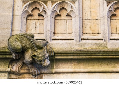 A stone sculpture of a creature that looks like a wild cat gargoyle, climbing a wall in the city of Oxford, England.