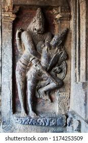 Stone sculpture of Narasimha slaying Hiranyakashapu at Pattadakal,in Bagalkot district, Karnataka, Inda, Asia