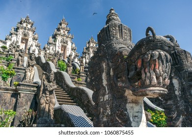 Stone sculptures of asian dragons in Pura Lempuyang temple on Bali, Indonesia. Close up.