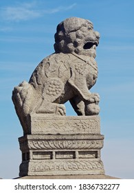 Stone sculptures from China on the Neva embankment. Stone chronicle of Saint Petersburg.