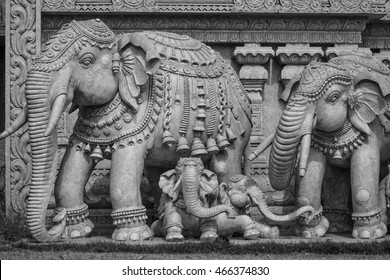 Stone sculptures of elephants in a Hindu temple