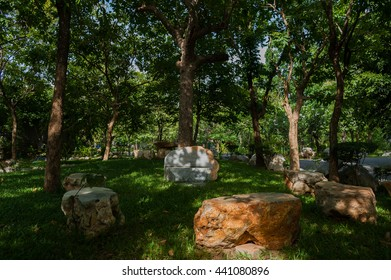 Stone seats under the trees