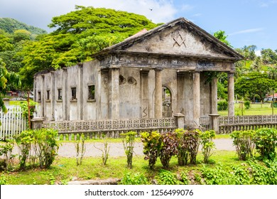 Stone shell of the South Pacific's first Masonic lodge (east. 1875). Levuka town, Ovalau island, Lomaiviti archipelago, Fiji, Melanesia, Oceania, South Pacific Ocean. Temple. UNESCO world heritage.
