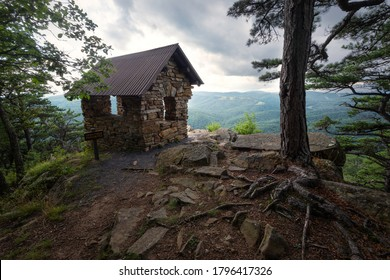 The stone shelter of Cranny Crow Overlook in Lost River State Park of West Virginia. The overlook's view gives you a look into two VA counties and three WV counties.