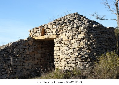 Stone shelter in Pyrenees, Aude, Occitanie in south of France