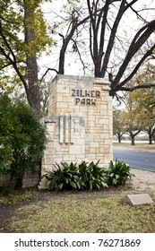 The stone sign at the entrance of Zilker Park in downtown Austin, Texas.  Zilker Park is the city's central parkland and a symbol of Austin.