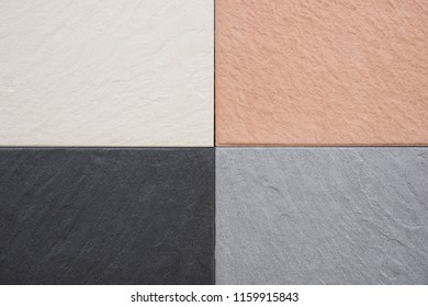 Stone slabs in different colors next to each other on the terrace
