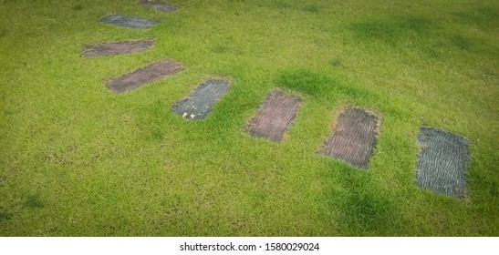 Stone slabs, walkways in green lawns