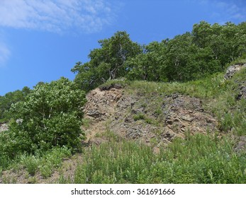 Stone slope. Stone mountain slope on signal peninsula in Petropavlovsk-Kamchatsky. Kamchatka.