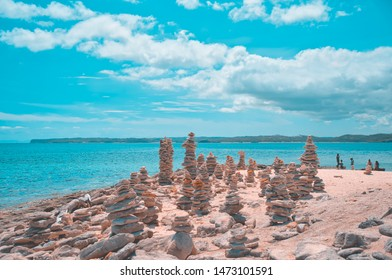 Stone stacked at the beach of Burias Island, Philippines.