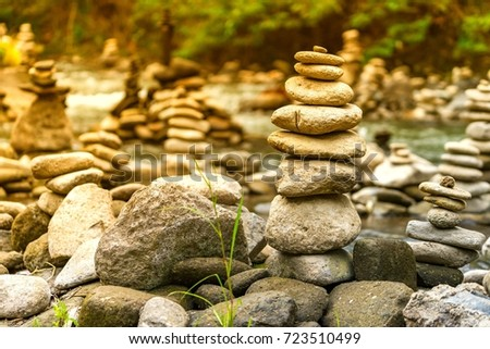 Stone Stacking Selective Focus Gradient Filter Stock Photo