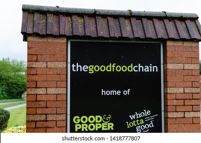Stone, Staffordshire / UK - July 8 2019: The Good Food Chain closed production facility, logos and empty parking at Stone. The exact location where pre-packed deadly sandwiches with Listeria were made