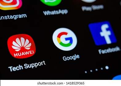 Stone, Staffordshire / United Kingdom - June 7 2019: Close up photo of Huawei, Google, Facebook app icons on a smartphone screen. Illustrative photo for the recent news about US -China tech giants.