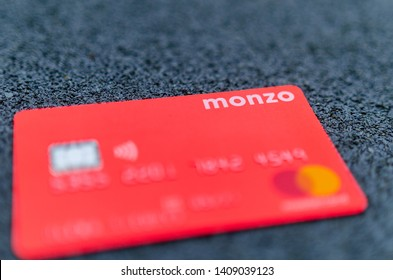 Stone, Staffordshire / United Kingdom - May 27, 2019: The picture of MONZO bank card. One of the first virtual bank on the UK market. The best holiday money card due to multi currency account.