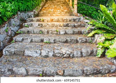Stone Stair With Stairway To Heaven, Exit To The Light ,background