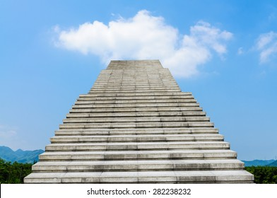 stone stair in the way up to blue sky