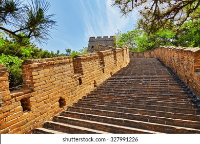 "Stone staircase of Great Wall of China, section ""Mitianyu"". Suburbs of Beijing."