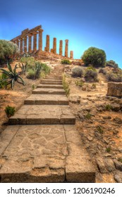 Stone Staircase to Greek Temple of Juno in the Valley of Temples - Agrigento, Sicily, Italy