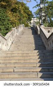 A stone staircase leading up to the Fishermans Bastion in Budapest, Hungary.