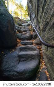 Stone stairs in Broumovske steny, Adrspach rocks, Czech republic - Shutterstock ID 1618022338